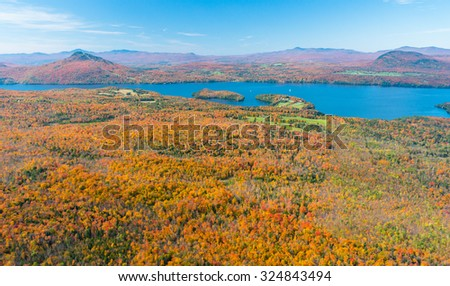 Aerial view of Owls Head mountain and Lake Memphremagog in Quebec's eastern townships during foliage season - stock photo