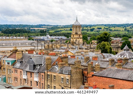 Aerial view of Oxford, England. Oxford is known as the home of the University of Oxford