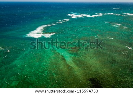 Aerial view of Pacific ocean near Maui island