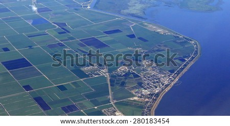 Aerial view of Pahokee, Florida and marina, on Lake okeechobee - stock photo