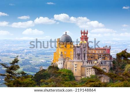 Aerial view of  Palace da Pena - Sintra, Lisboa,  Portugal - European travel,  Horizontal - stock photo