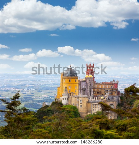 Aerial view of  Palace da Pena / Sintra, Lisbon / Portugal / European travel - stock photo