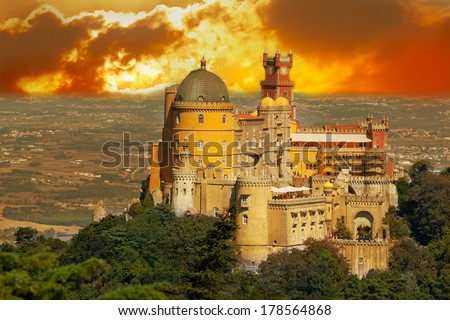 Aerial view of Palace da Pena. Sintra, Lisbon. Portugal. European travel - stock photo