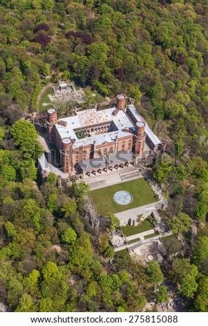 aerial view of palace in Kamieniec Zabkowicki town in Poland - stock photo