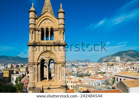 Aerial view of Palermo from Santa Maria Assunta cathedral in Palermo, Sicily, Italy - stock photo