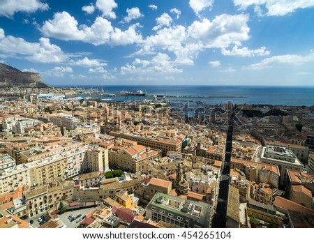Aerial View of Palermo, Italy - stock photo