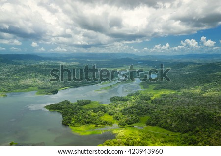 Aerial view of Panama Canal on the Atlantic side - stock photo
