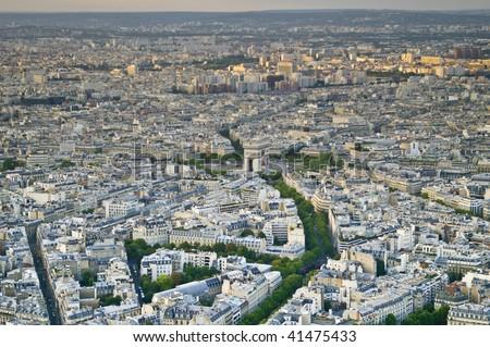 aerial view of paris - stock photo