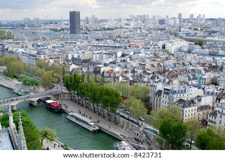 Aerial view of Paris - stock photo
