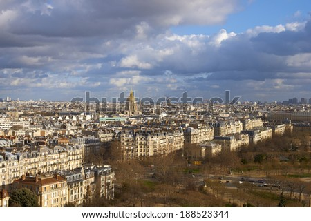 Aerial view of Paris architecture and the River Seine from the Eiffel Tower - stock photo