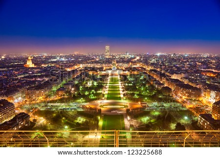 Aerial view of Paris at night. France. - stock photo