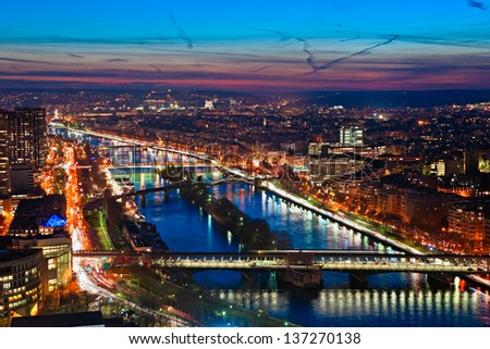Aerial view of Paris at night, France. - stock photo