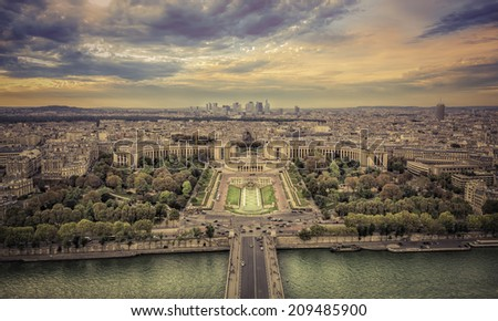Aerial view of Paris at sunset, France - stock photo