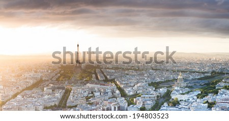 Aerial view of Paris at sunset on the Montparnasse skyscraper