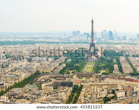 Aerial view of Paris city with Eiffel Tower, France