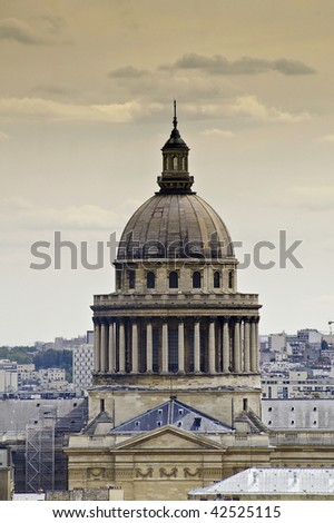 aerial view of Paris.Dome of the university - stock photo