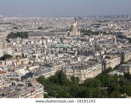 Aerial View of Paris, France - stock photo
