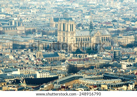 Aerial view of Paris (France) in the fog - stock photo