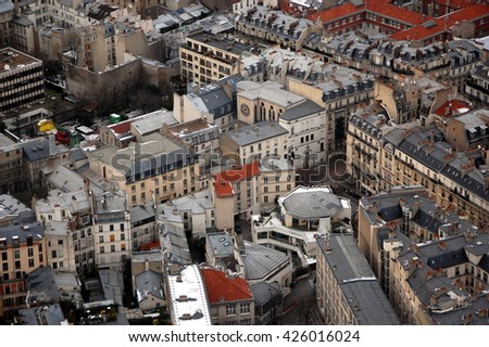 Aerial View of Paris from Maine-Montparnasse Tower - stock photo