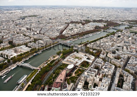 Aerial view of Paris from the Eiffel Tower - stock photo
