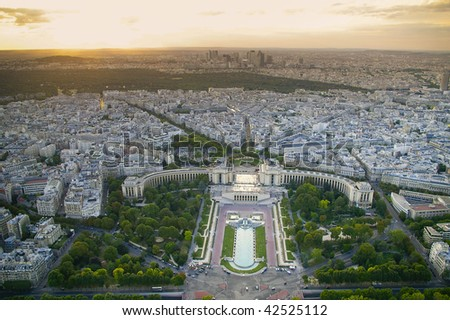 aerial view of Paris. Trocadero view, the background is the Bois de Boulogne