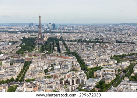 Aerial view of Paris with Eiffel Tower from Montparnasse building - stock photo