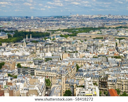 Aerial view of Paris with the Eiffel tower - stock photo
