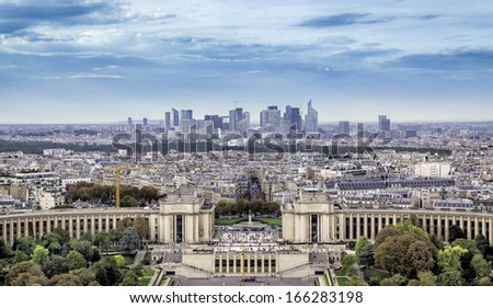 Aerial view of Paris with Trocadero and La Defense, France - stock photo