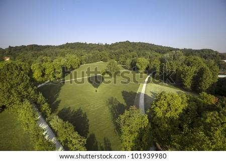 Aerial view of Park Tivoli, Ljubljana, Slovenia - stock photo