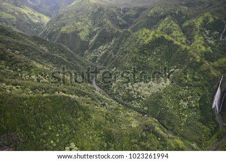 aerial view of park waterfall in kauai