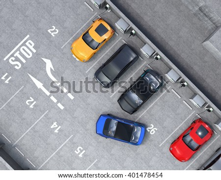 Aerial view of parking lot. Half of parking lot available for EV charging service. 3D rendering image in original design. - stock photo