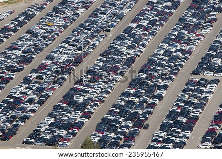Aerial view of parking new cars