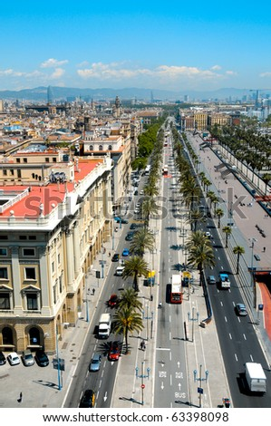 Aerial view of Passeig de Colom and the skyline of Barcelona, Spain - stock photo