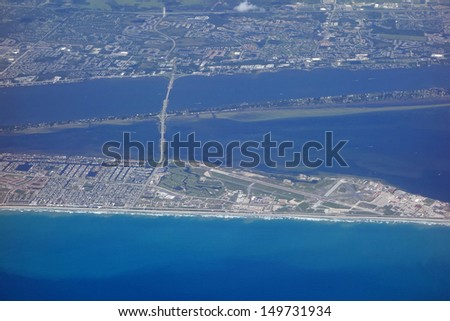Aerial view of Patrick Air Force Base airport, near Cocoa Beach, Florida