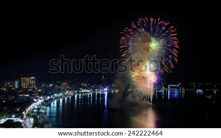 Aerial view of Pattaya city with firework at beach, Thailand
