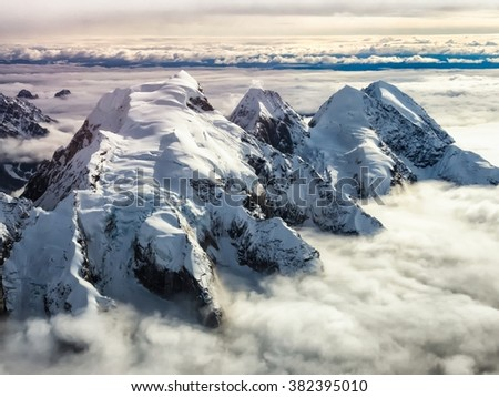 Aerial view of peaks near the head of the Tokositna Glacier in Denali National Park
