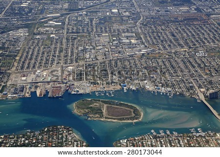 Aerial view of Peanut Island and the Port of Palm Beach, Florida - stock photo