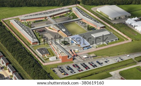 Aerial view of penitentiary prison in Ter Apel, Netherlands. - stock photo