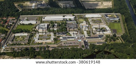 Aerial view of penitentiary prison in Vught, Netherlands. - stock photo