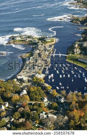 Aerial view of Perkins Cove near Portland, Maine - stock photo