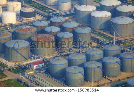 aerial view of petrol industrial zone  - stock photo