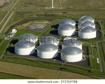 Aerial view of petrol industrial zone. It's the Vopak Terminal in the Eemshaven, Groningen, Netherlands. - stock photo