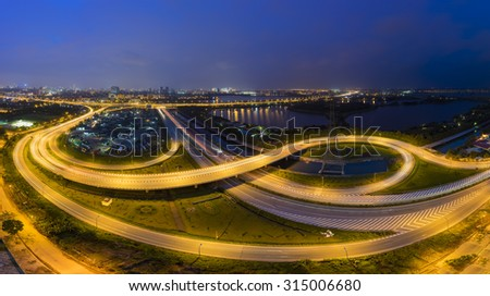 Aerial view of Phap Van road junction. Hanoi city scape at night  - stock photo