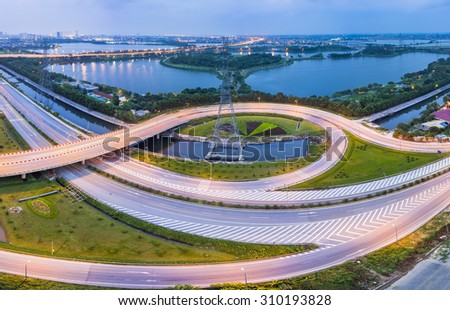 Aerial view of Phap Van road junction. Hanoi city scape at twilight - stock photo