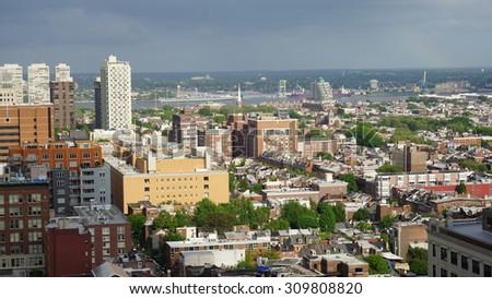Aerial view of Philadelphia - stock photo