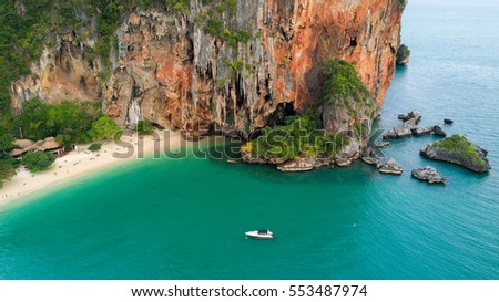 Aerial view of Phra Nang tropical beach and cave in Krabi province, Thailand