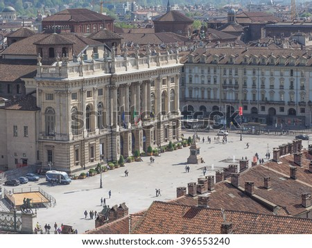 Aerial view of Piazza Castello central baroque square in Turin Italy - stock photo