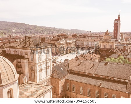 Aerial view of Piazza Castello central baroque square in Turin Italy vintage