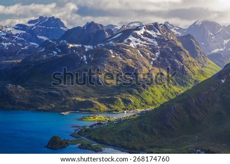 Aerial view of picturesque fjords on Lofoten islands in Norway - stock photo