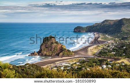 Aerial view  of Piha Beach and Lion Rock, New Zealand - stock photo